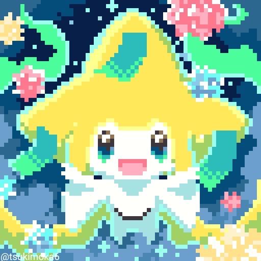 金平糖たくさん食べれますように! Illust of ラテ茶 pokemon fanart pixelart Jirachi 金平糖