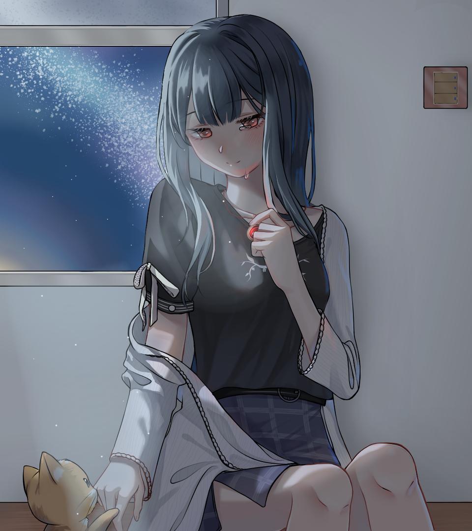 思念 Illust of 星落乌啼 medibangpaint 少女与猫 夜晚