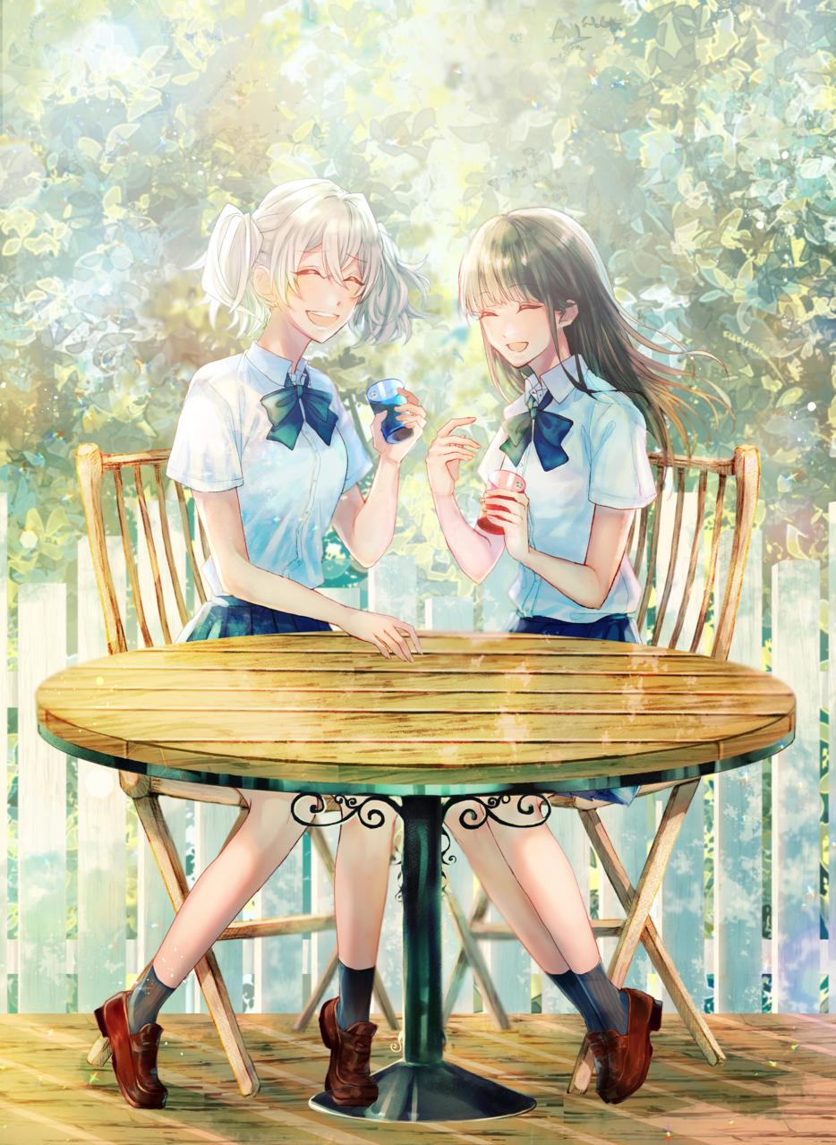 ふたりだけの、瓶詰めの庭 Illust of 湊月レイン girl 百合