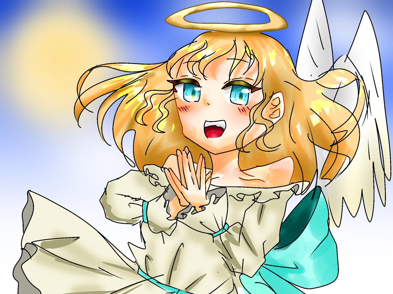 ワンドロぉ Illust of 彩芽 小6 oc angel 下手くそ girl レッツワンドロ