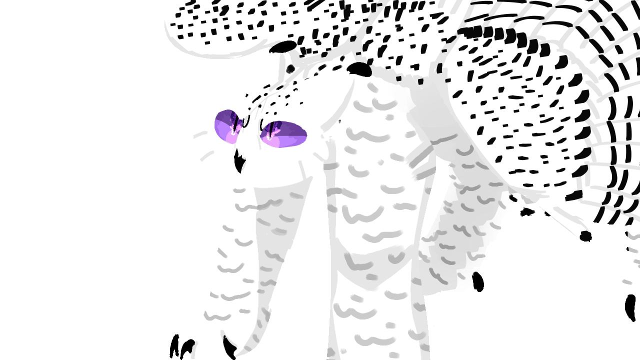 Spirit Illust of .•♬• sᴏᴄᴋ-ʙᴀɪᴛ™ •♬•. Skye medibangpaint black defending snowyowl Griffin purple white protective protection angry