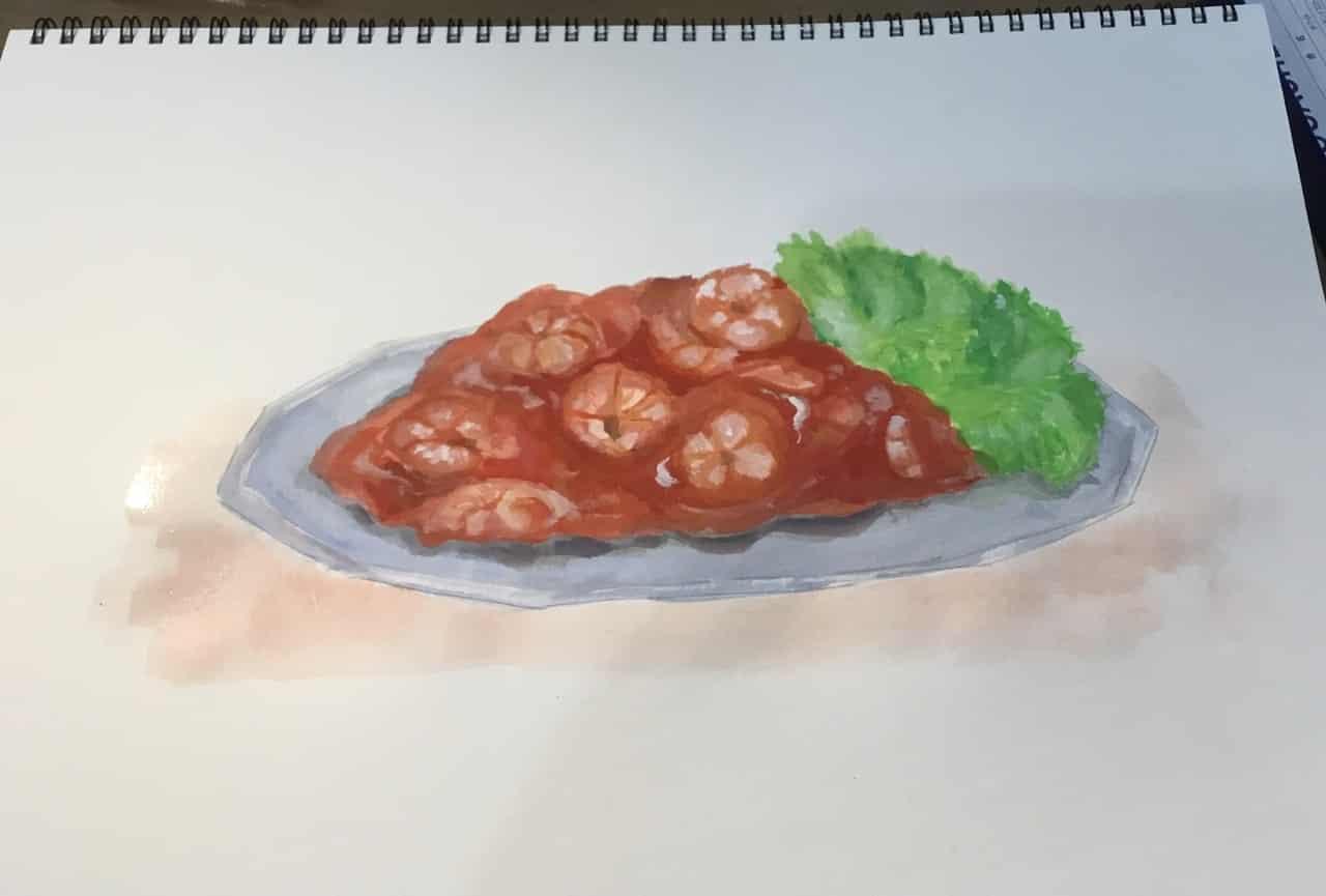 【アクリルガッシュ】エビチリ🍤 Illust of Marfy チャイナ アナログ エビチリ food 中華 watercolor 中華料理 shrimp アクリルガッシュ