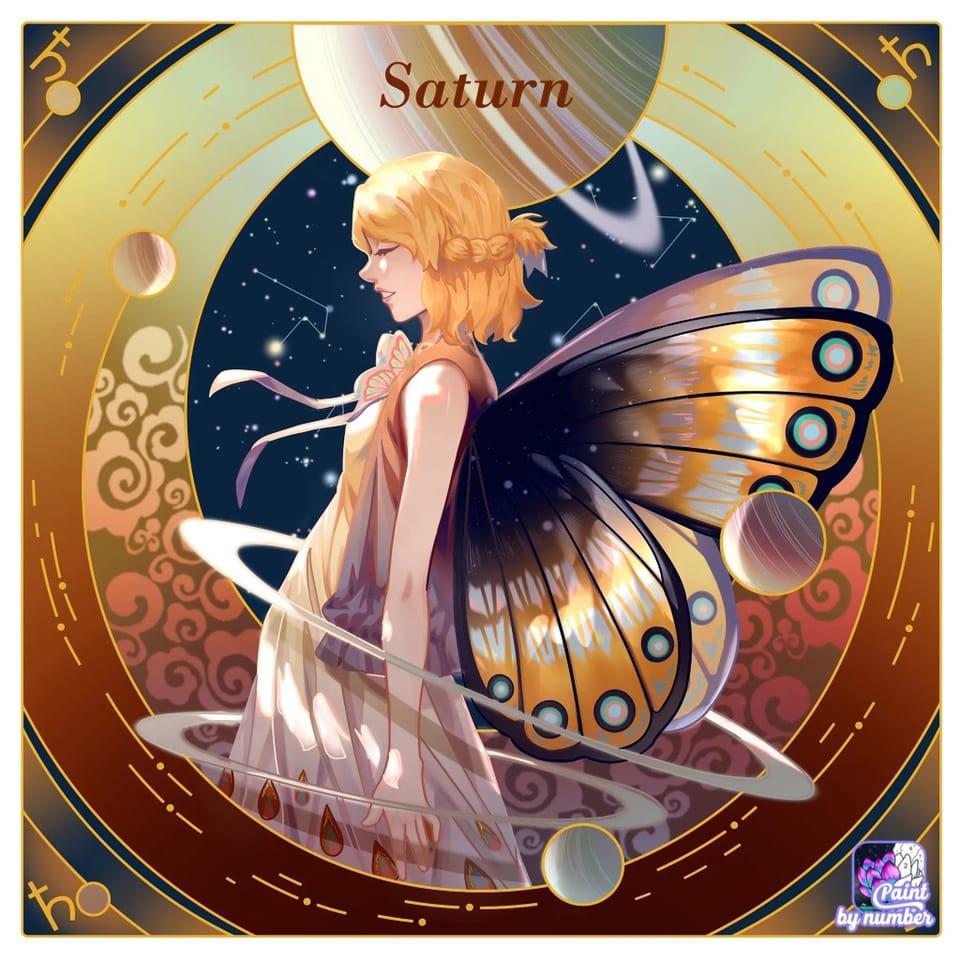 🪐 Saturn 🪐  Illust of {Boba Leaf}🌿 butterfly cute animegirl medibangpaint Paintbynumber