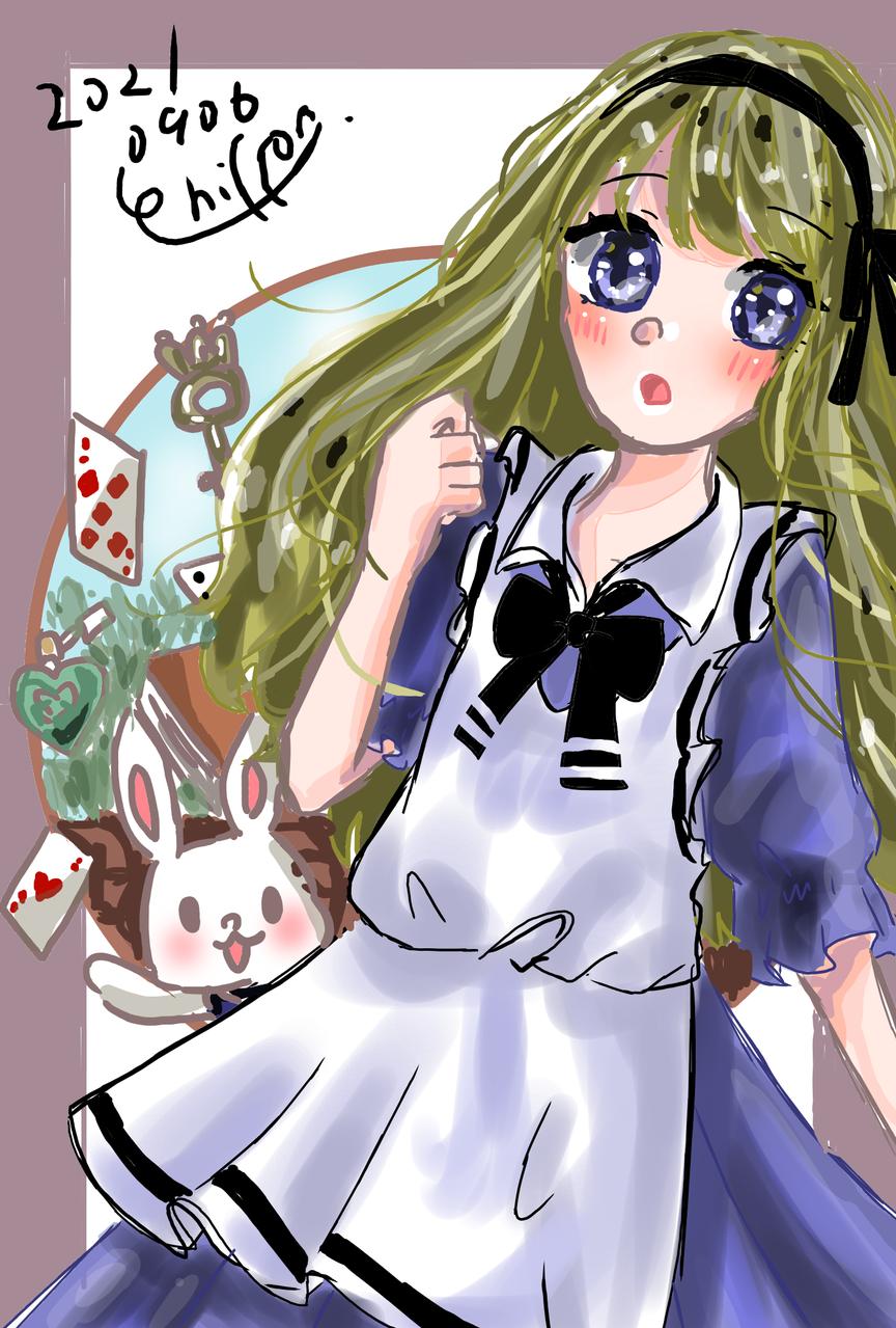 アリス♠ Illust of シフォン🥑 トランプ girl シフォン🐬 kawaii 不思議の国のアリス rabbit Alice blonde
