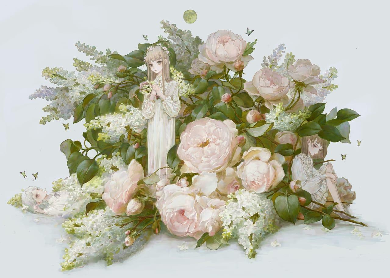 花の世界 Illust of 梦茶DTEA April2021_Flower art girl illustrations cute illustration flower