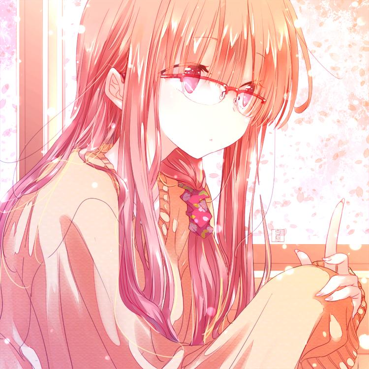 ✿ Illust of 白継 pink girl 窓辺 眼鏡っ娘 sakura original