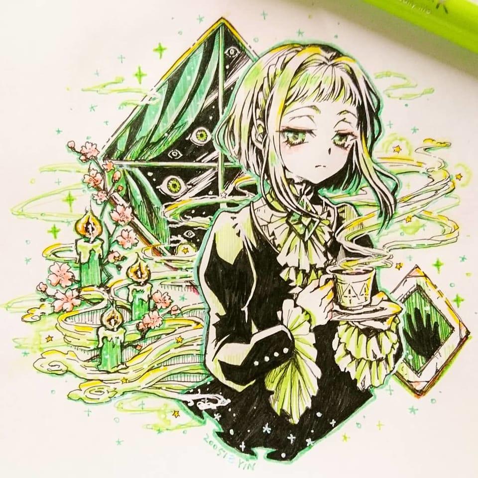 【お嬢さんのお茶会】 Illust of yinhidaka 花子くん girl 七峰桜 handdrawn doodle Toilet-boundHanako-kun