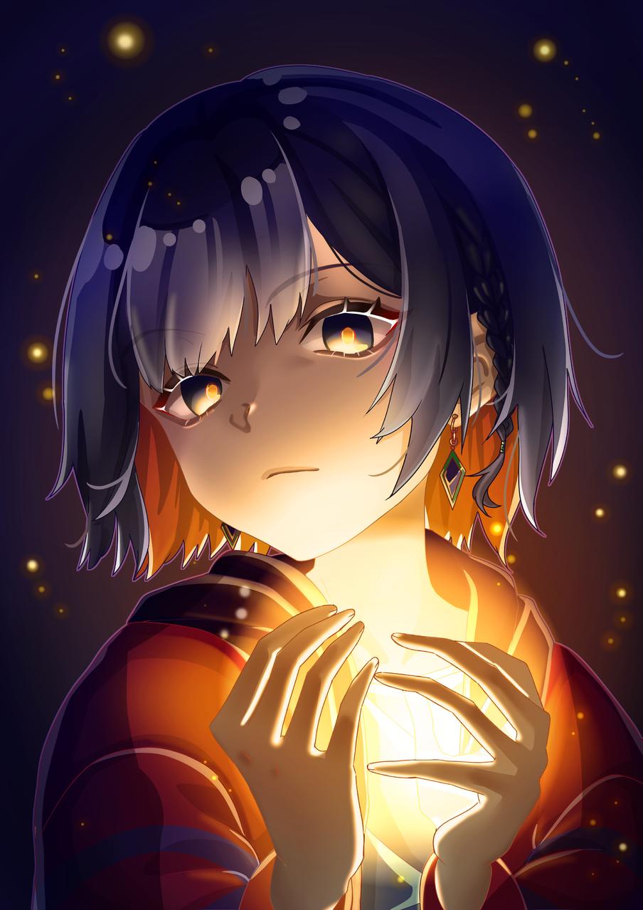 RIM Illust of Akira Luca illustration virtual_YouTuber girl shorthair light dark fanart lighting cool digital