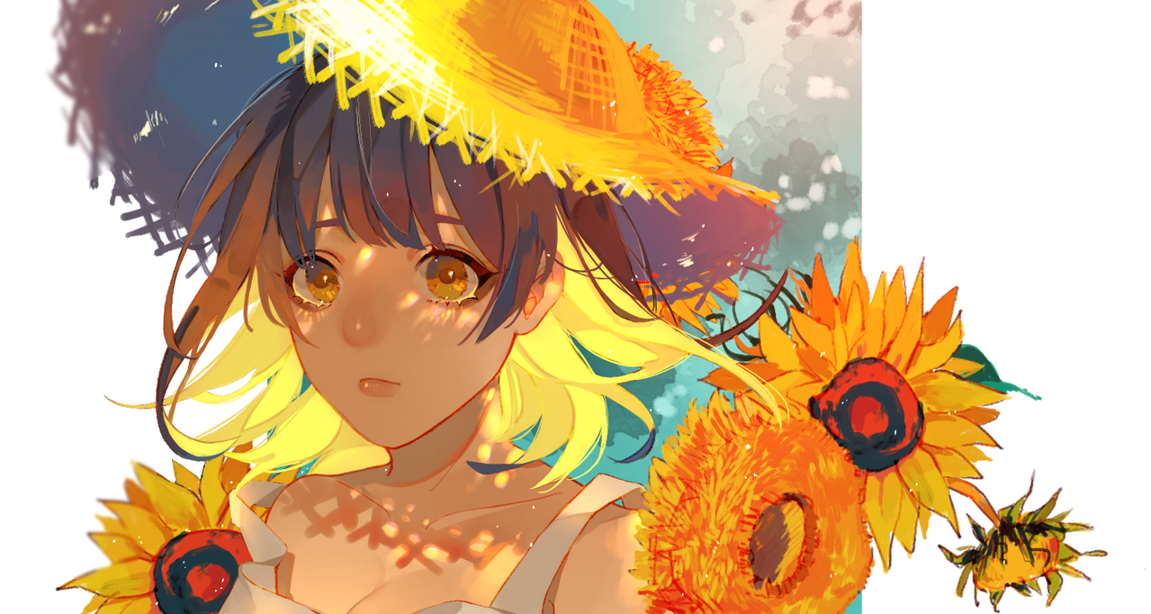 sunflower Illust of 泡芙 MasterpieceFanart flower girl sunflower fanart 名畫