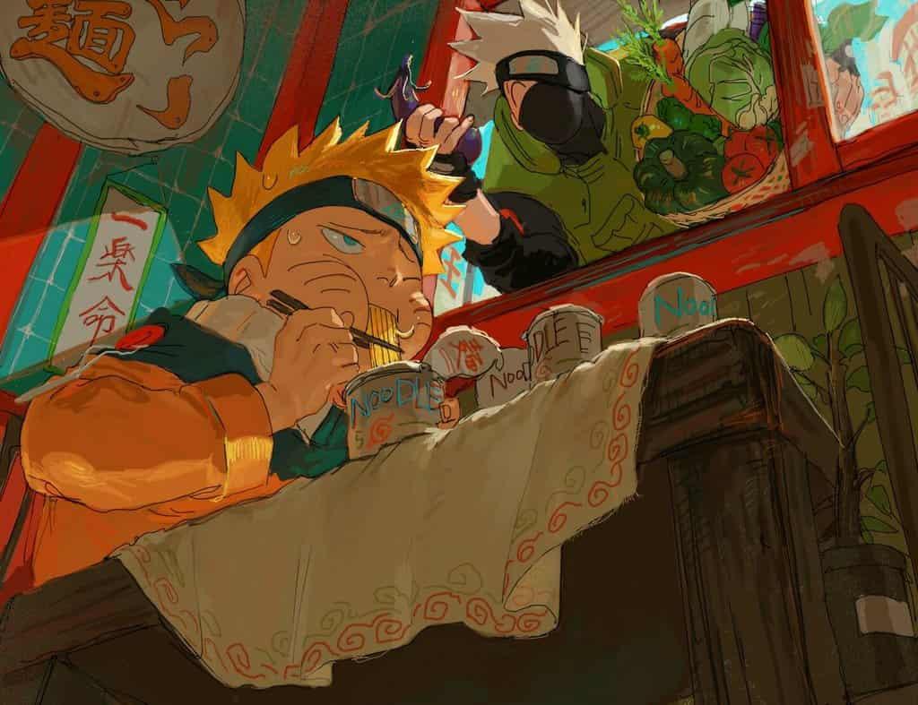 ラーメンばっか食ってないで野菜も食え♡ Illust of おく 1stjumpillust UzumakiNaruto NARUTO HatakeKakashi
