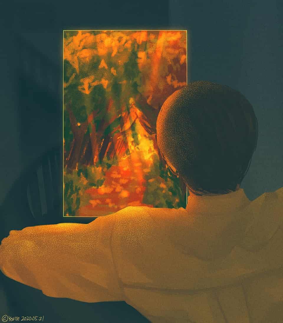 다른 차원으로..!?(제목이 생각안났어요.. Illust of 하나두울 yellow forest red medibangpaint