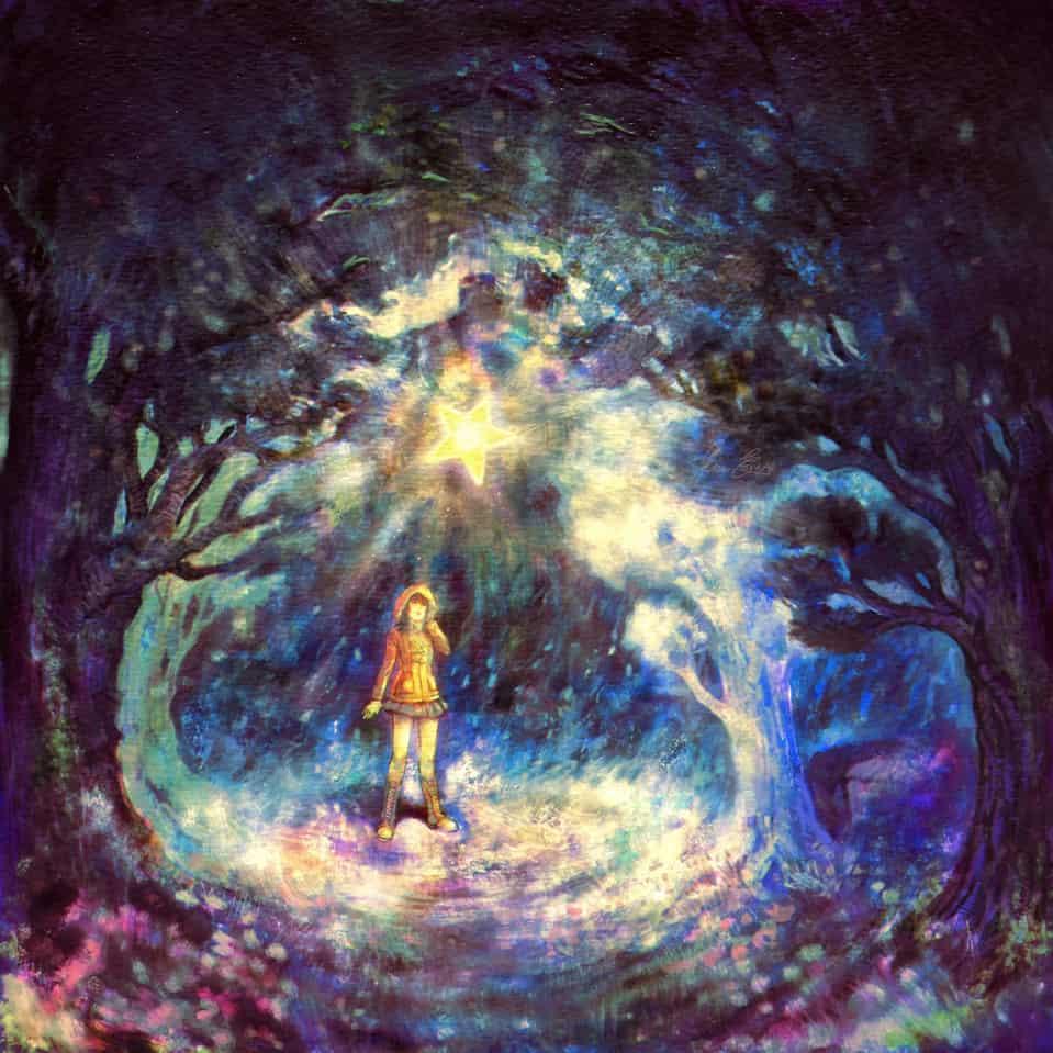 Forgotten Wish Illust of Ico-dY fantasy July2020_Contest:Anniversary wish forest tree flower night girl anniversary star light