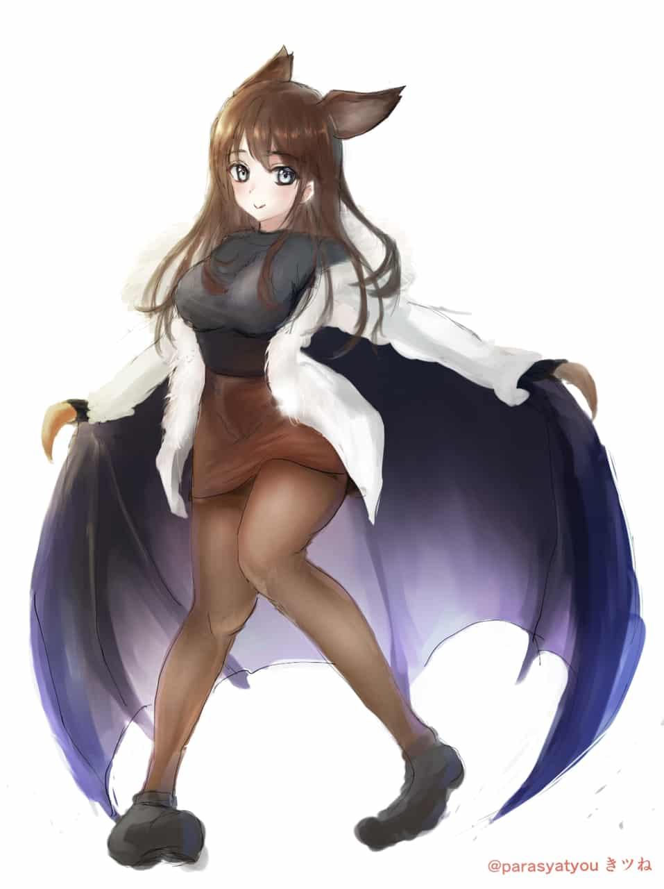コウモリ擬人化 girl waifu Illust of きツね original girl 異種族 太もも おっぱい タイツ コロナ 獣