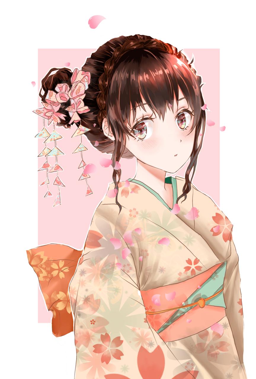 Kimono Girl - Pink Illust of ドドドミノ ❥ July2020_Contest:Anniversary Kyoto_Award2020_illustration 日本 kimono Kimonogirl 和服の女性 和服女子 girl 和服少女 kimonogirl