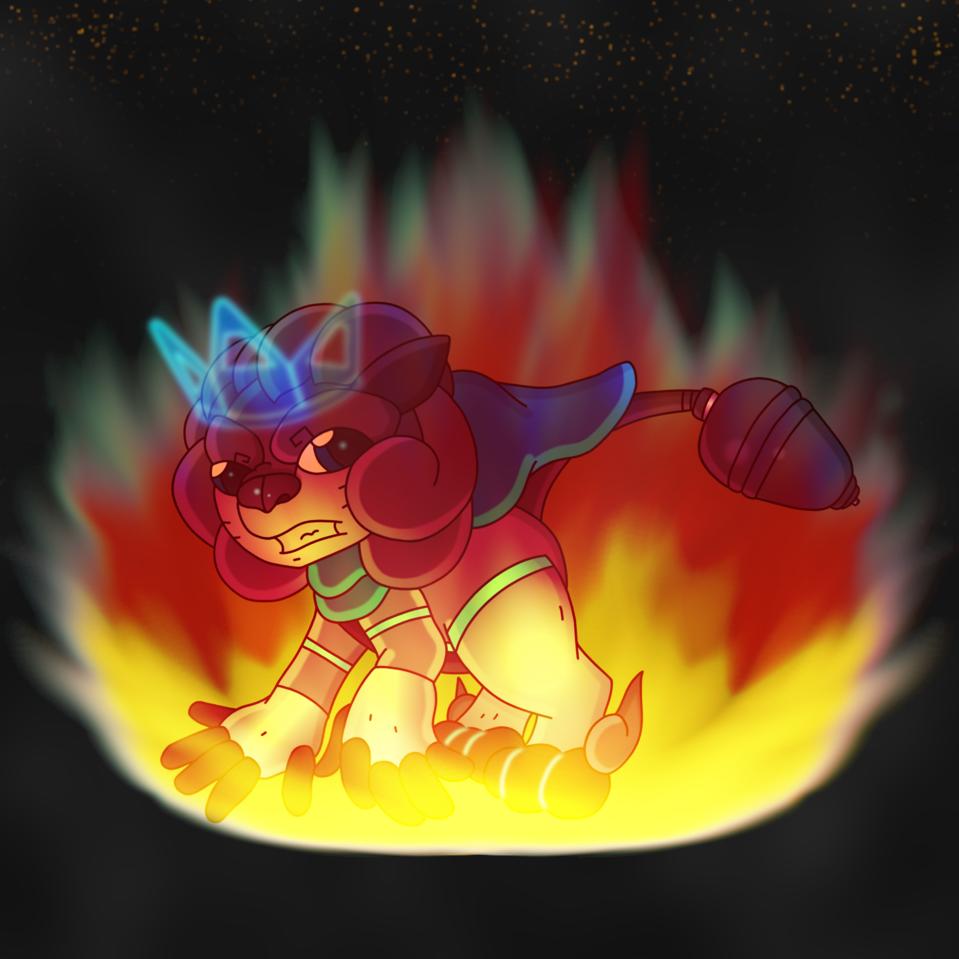 Burning Bright Future Illust of CopperNeon HuionDesign blue Lion animal furry cartoon anime cat fire kawaii cute