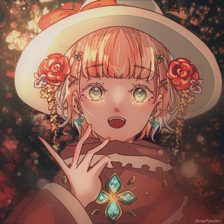 貴婦人の花庭 Illust of Marfy April2021_Flower 宝石 メルヘン piercing dress portrait girl きらきら ribbon kawaii