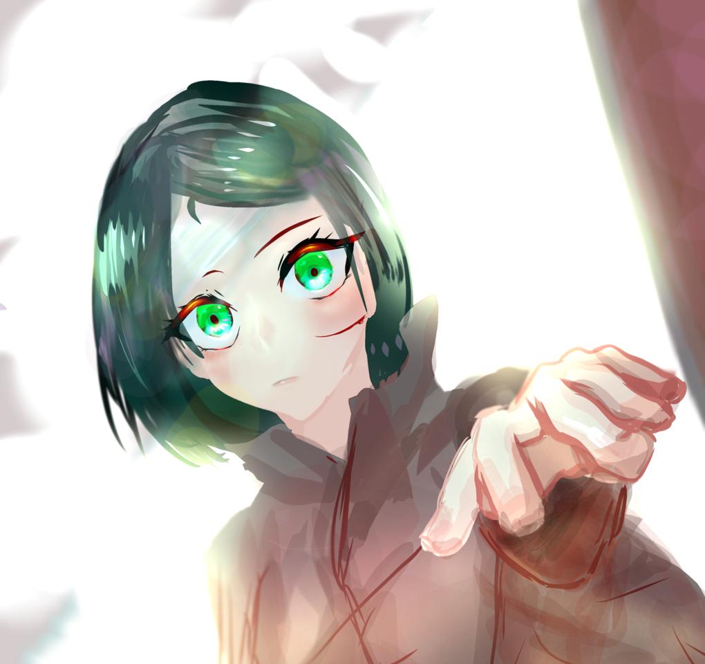 Illust of 芙蓉 greenhair girl 指描き greeneyes