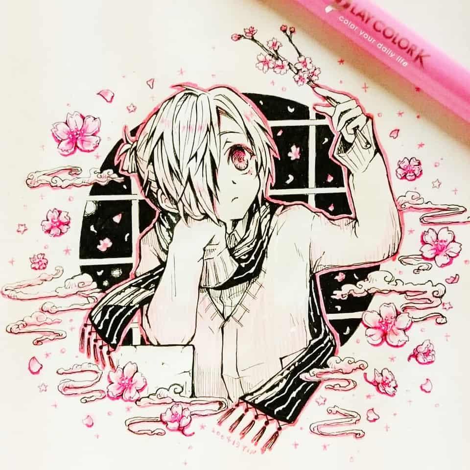 【桜】 Illust of yinhidaka 花子くん doodle mitsubasousuke 三葉 handdrawn boy 三葉惣助 Toilet-boundHanako-kun