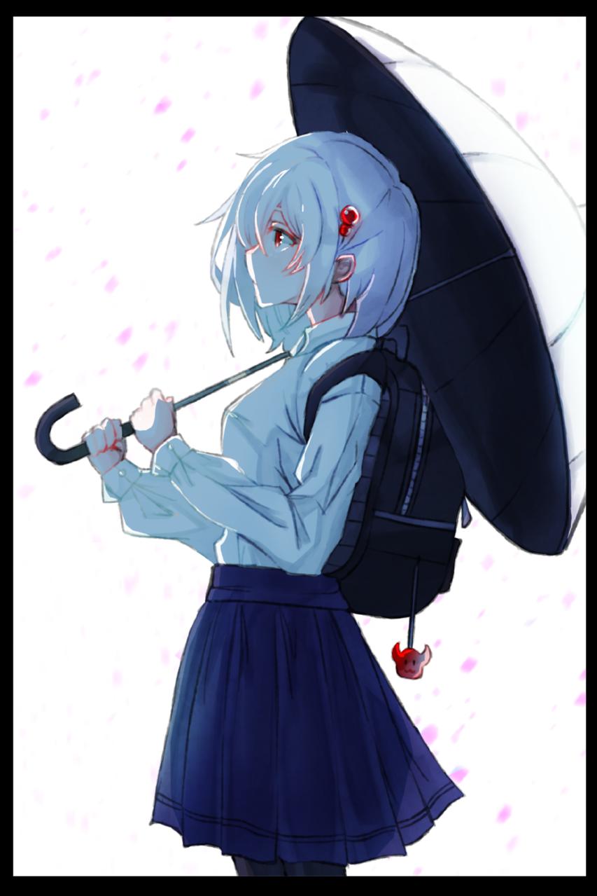 16年 Illust of ないもも sideface uniform girl flower white illustration 春 日傘 red pink