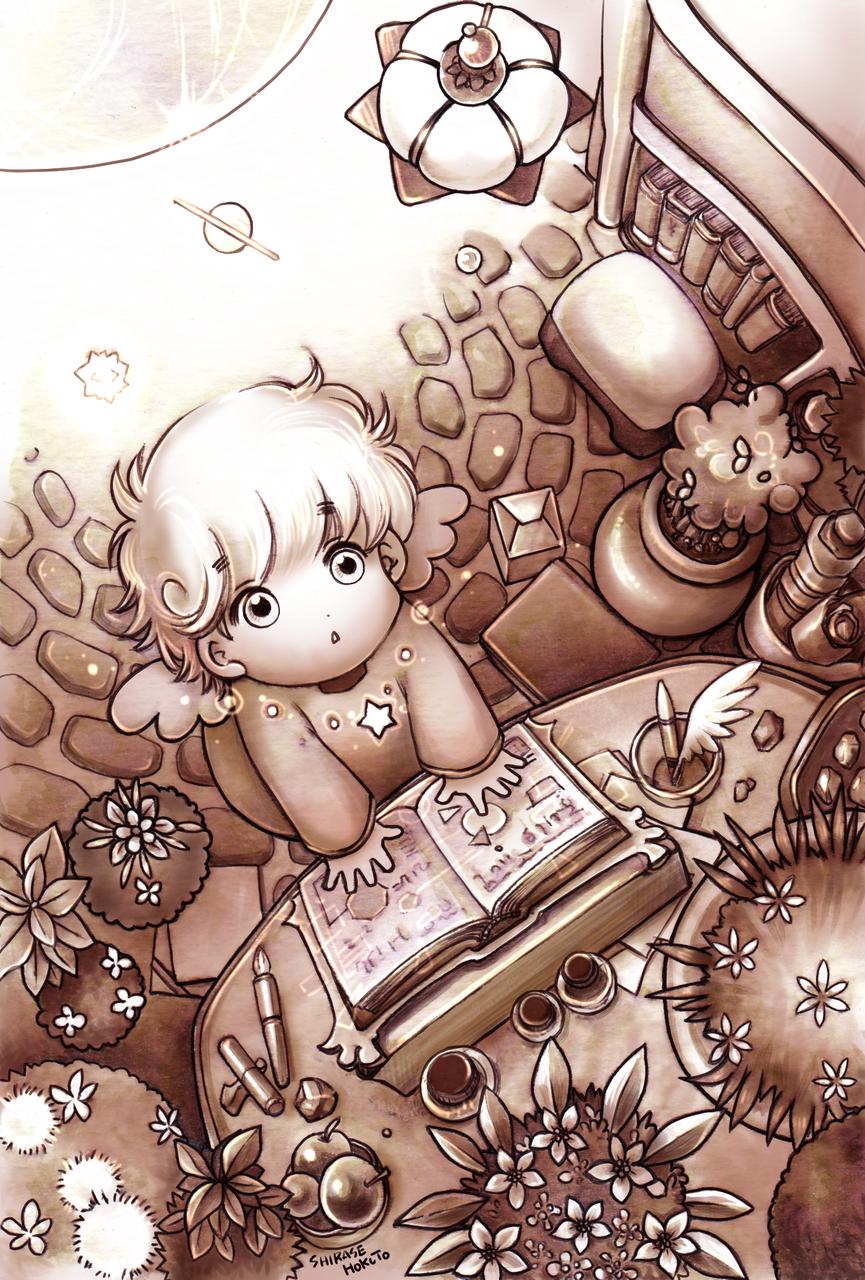 ちぃの部屋(いろいろ) Illust of ちぃぶっく medibangpaint white_hair 部屋 鉢植え セピア 文房具 雑貨