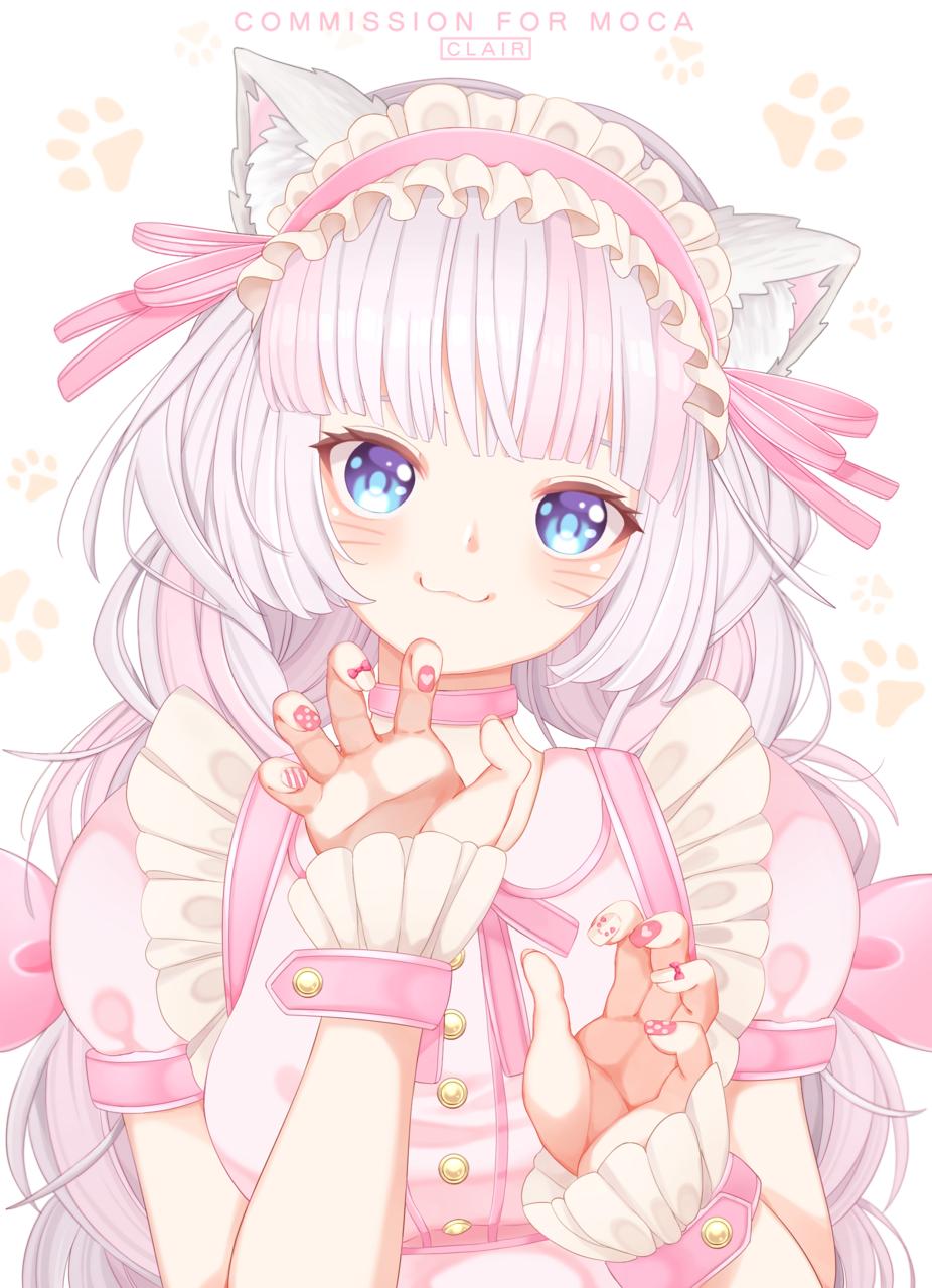 Commission~ Illust of Clair_in_Wonderland anime girl animegirl cat_ears