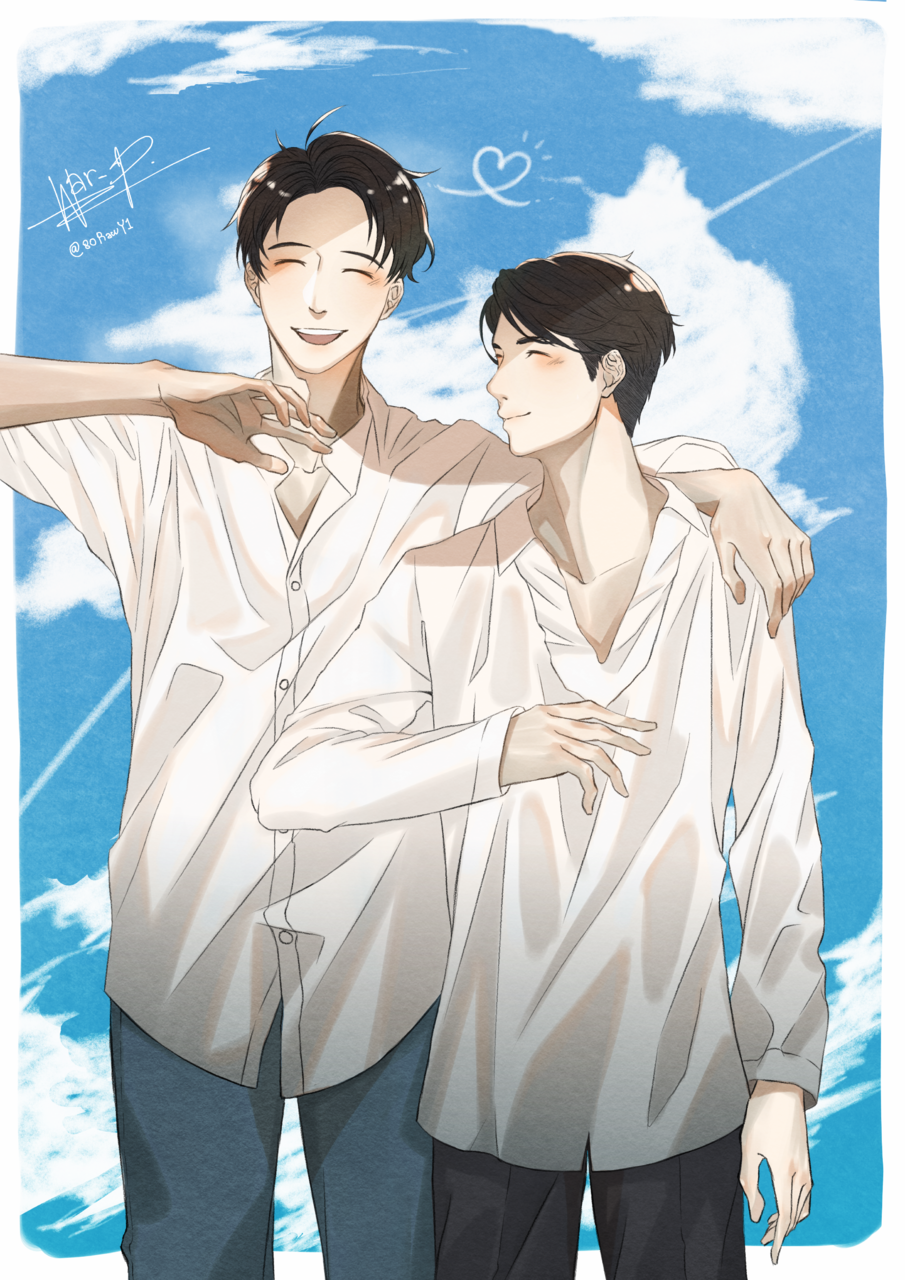 2gether The Series Birght&Win Illust of WarPPloy BL sky brightwin Thai couple blue 2getherTheSeries Student Thailand