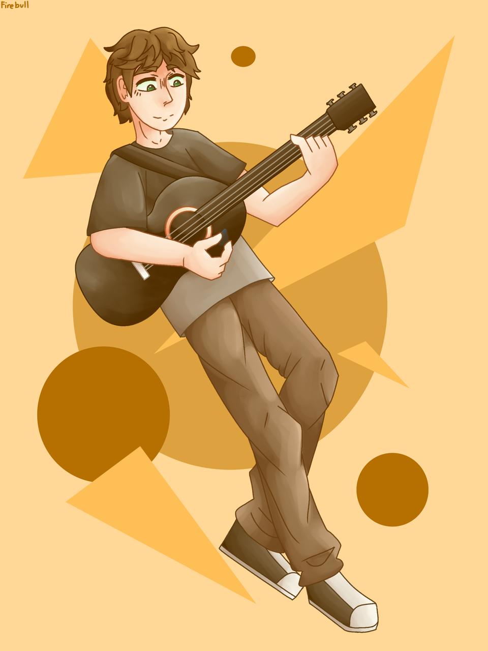 New guitar!! (Thank you for 75 followers!!) Illust of Firebull Guitar medibangpaint Thank_you yellow 75_Followers
