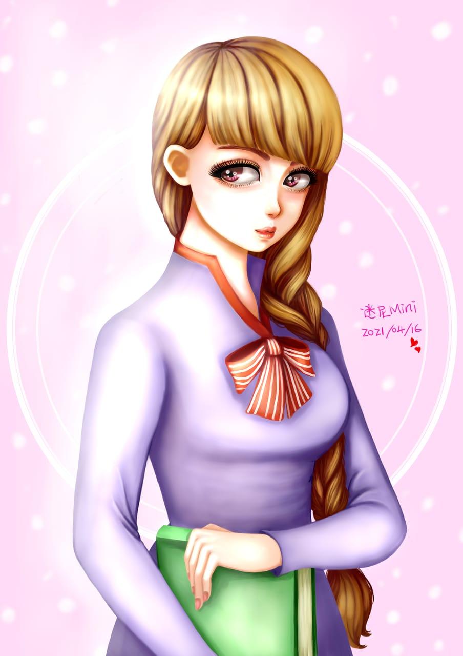 圖:2021/04/16隨意畫^^  Illust of cchenju(迷尼Mini) April2021_Flower woman 女老板 girl 古典 電繪 original illustration 插画,原创 Girls oc