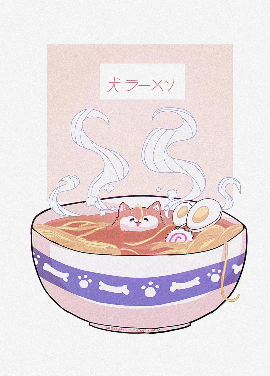 犬ラーメン「InuRamen」 Illust of かずみたかし Ramen dog 1hDrawingChallenge doodle