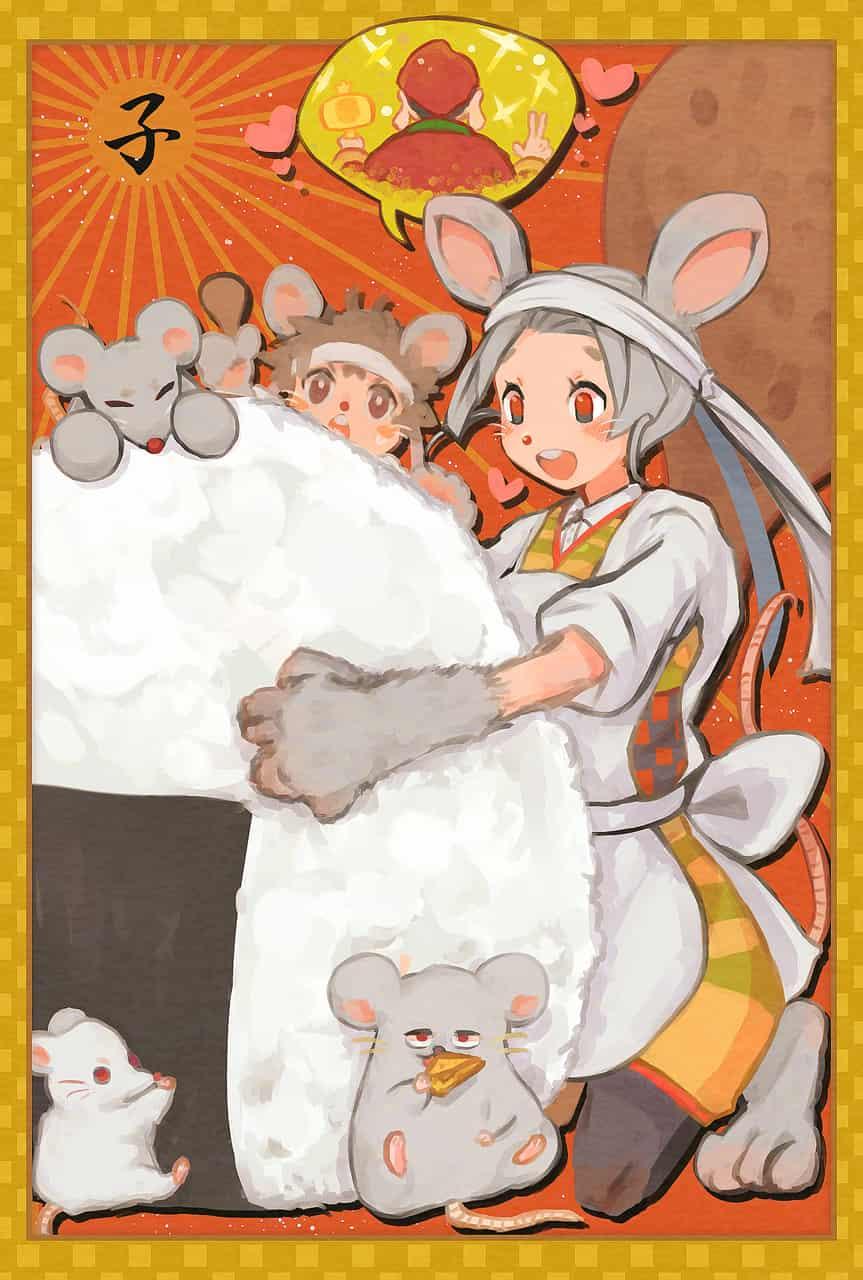 !子年! Illust of ほしうめ ぺてお illustration girl 子年 ネズミ 年賀状 おにぎり
