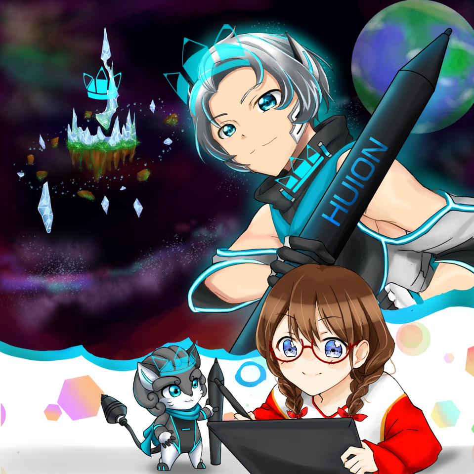 Adventure in Space With HUION in My Imagination Illust of OmanjuuUsa HuionDesign
