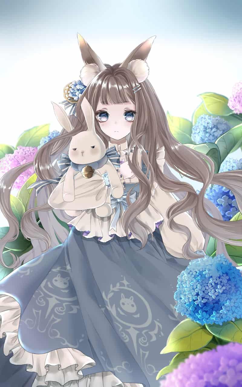 Illust of Koori animal_ears girl うさ耳 rabbit hydrangea