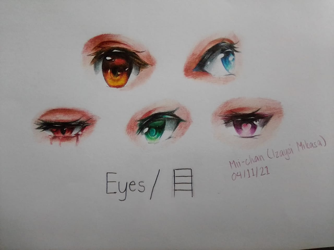 Anime Eyes  Illust of Izayoi Mikasa eyes color coloredpencil AnalogDrawing Mii-chan(Mikasa)