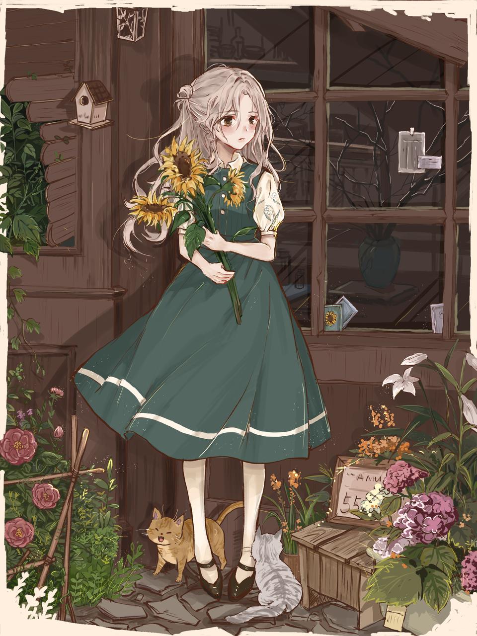 花 Illust of 多肉水母 medibangpaint cat flower girl