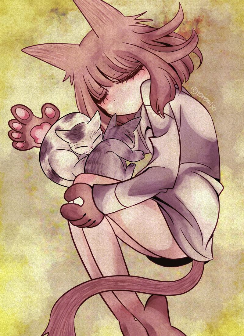 41 Illust of toromiso May.2020Contest:Cheering June2020_Contest:Street_Art pastel cat_ears cat 猫耳娘 original girl 肉球 オリジナル漫画キャラクター oc