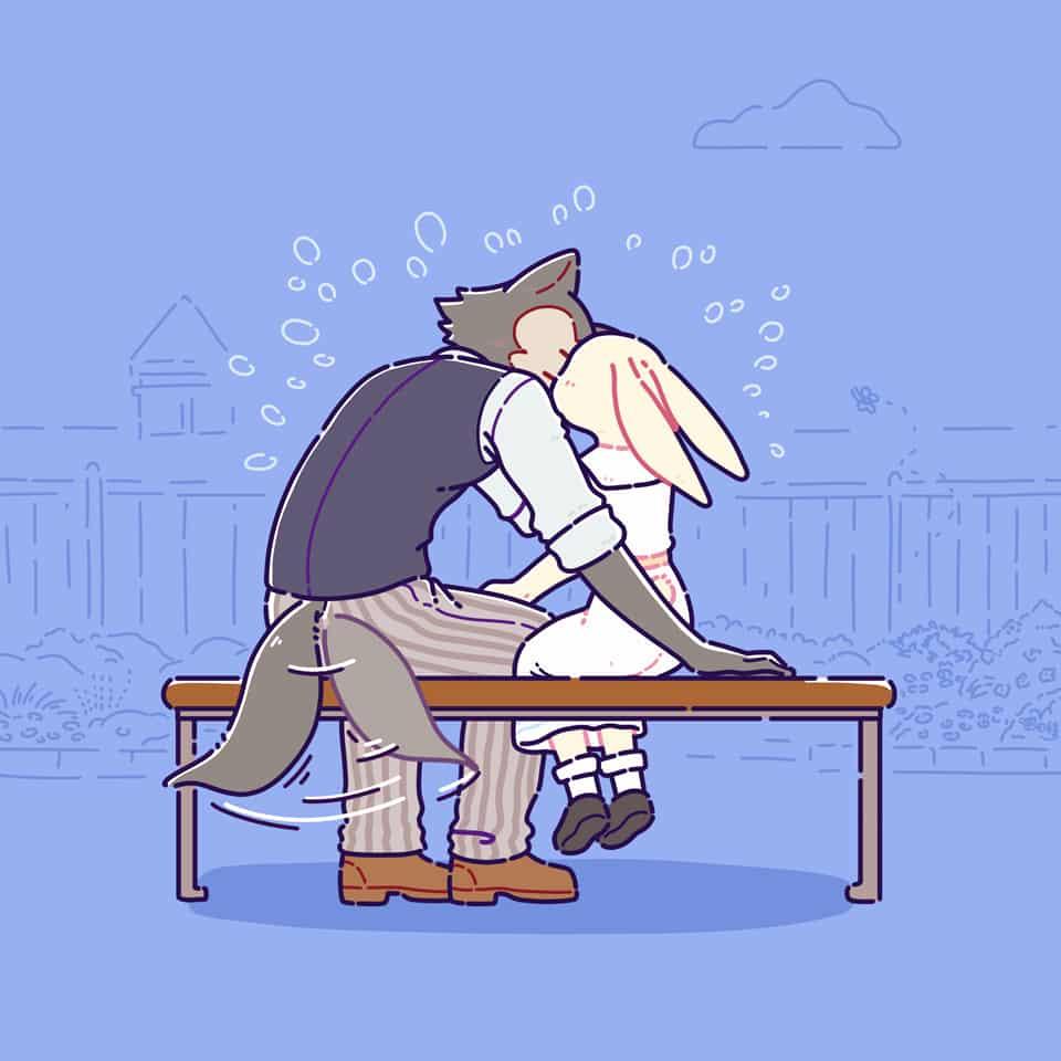 kiss Illust of 喵田穆 September2020_Contest:Furry ハル kiss BEASTARS furry レゴシ