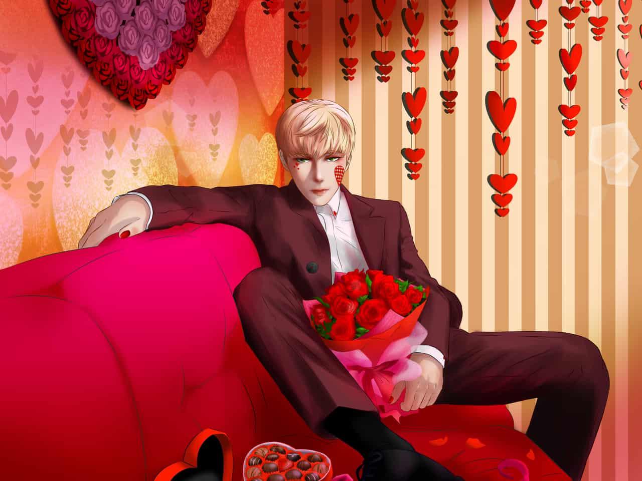 My Valentine Illust of erize04 Feb2020:VDAY roses pink valentines hearts chocolates