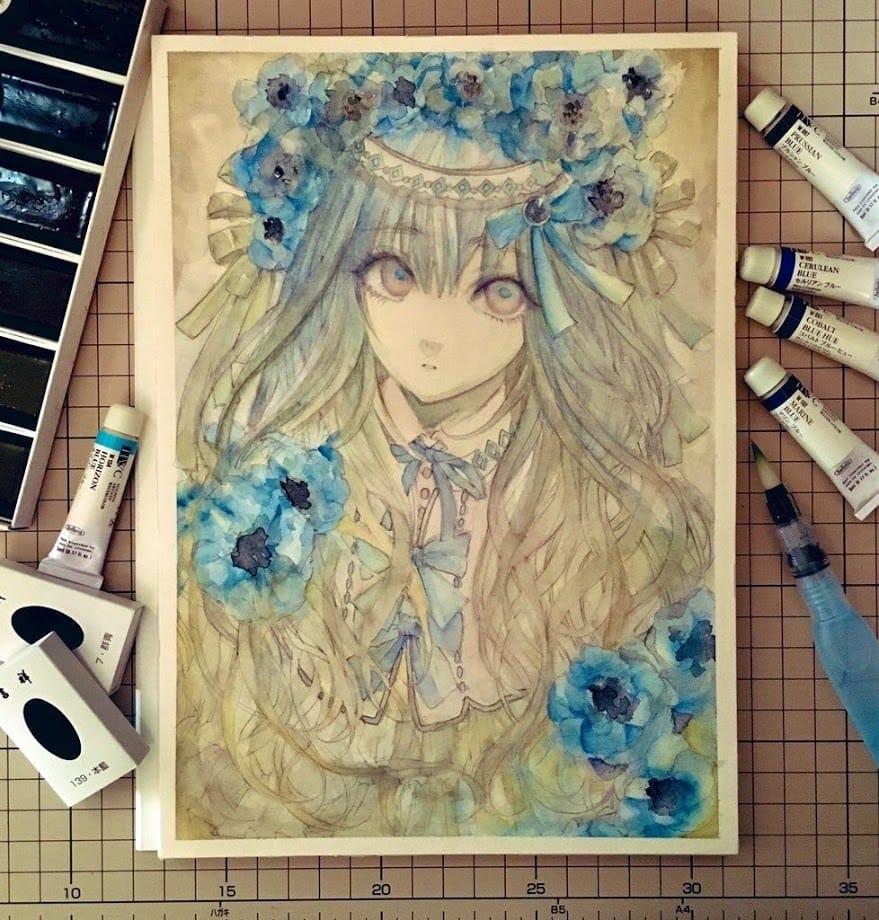 青花Ⅱ Illust of 青砂時計 watercolor ファンタジーキャラ