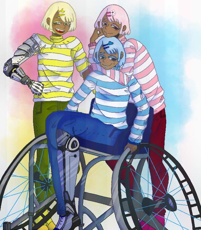 Pride month 5 Illust of Clover demiboy Deminonbinary Personification prideflag Wheelchair pridemonth digital demigirl Triplets prosthetic