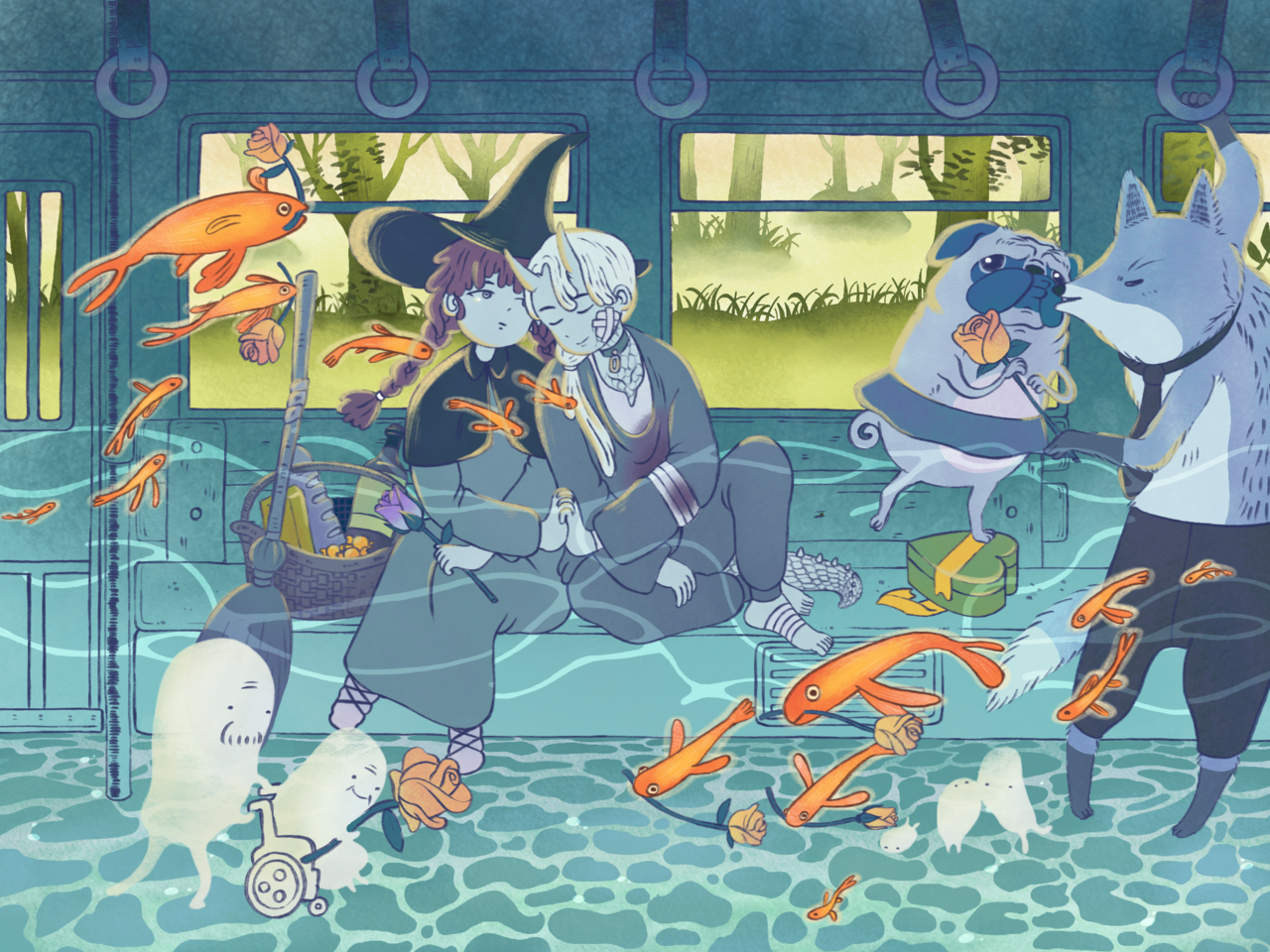 First Love Illust of CCD Feb2020:VDAY First Day, witch Fox, girl, boy, Pug, dragon Love, Valentines