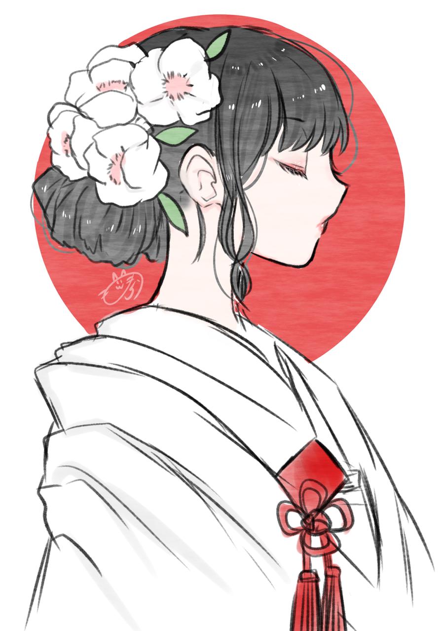 着物と横顔 Illust of nora Post_Multiple_Images_Contest kimono Japanese_style 白無垢 girl 横顔 medibangpaint