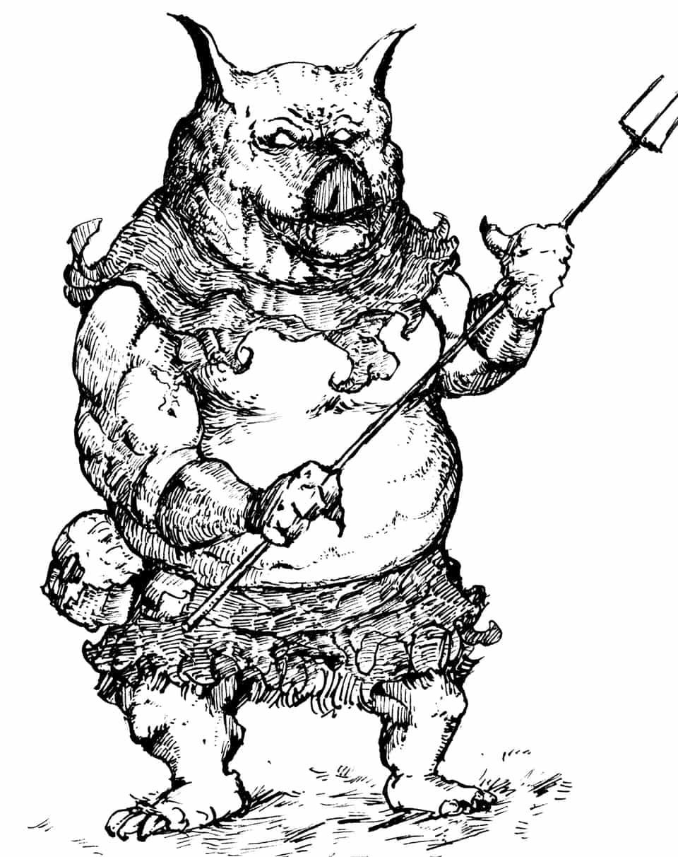 豚の獣人 Illust of 竹林一 fantasy February2021_Fantasy March2021_Creature 怪獣 ペン画 monster original アナログ 獣人 pig クリーチャー