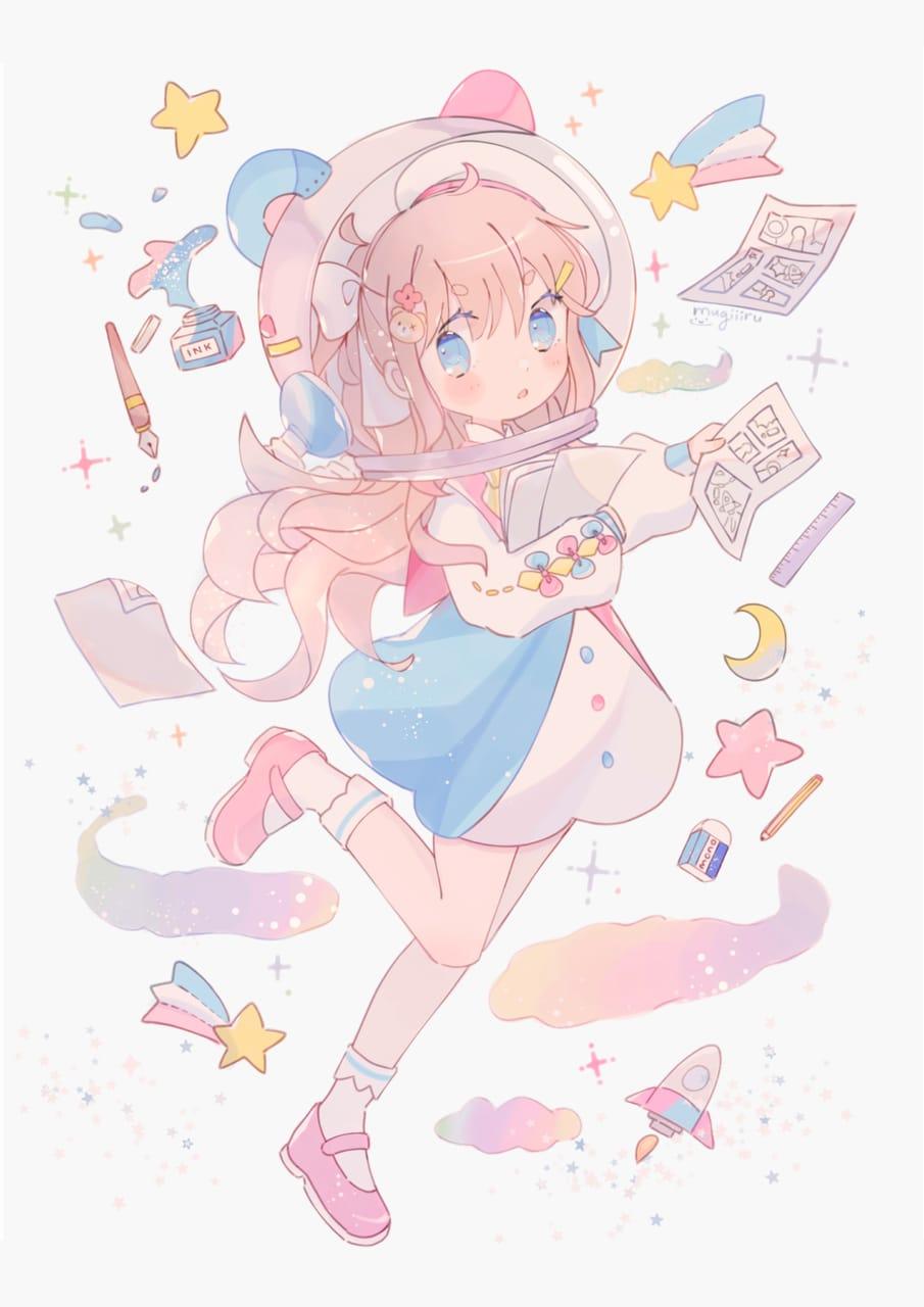 Space mangaka Illust of mugiiiru oc pastelcolors moon cutegirl animegirl kawaii space animeart star pastel