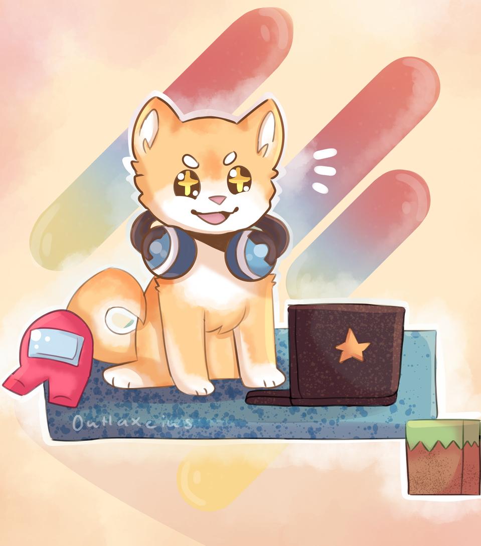 Gamer Illust of Outlaxieus original dog ShibaInu Minecraft