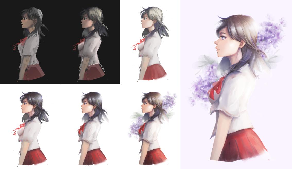 花。少女 Illust of AKuro 側臉 girl 過程 學生 purple original 2021 清新 flower