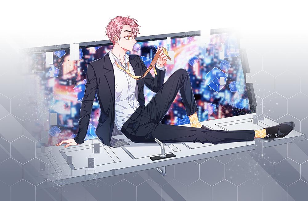 suit Illust of 십삼 oc original suit boy 분홍머리