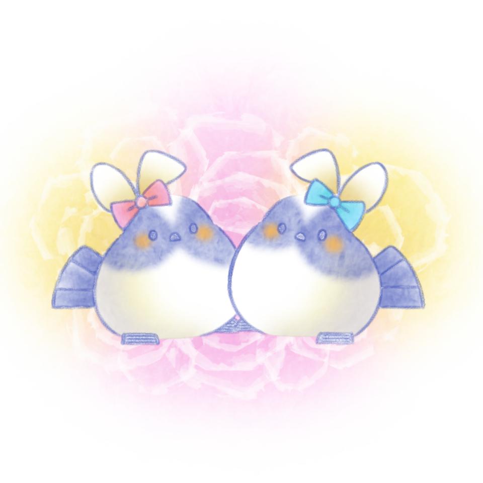 バニーな雛ちゃんズ。 Illust of 兎卯子 小鳥 original とり シマエナガ digital iPad_raffle 小動物