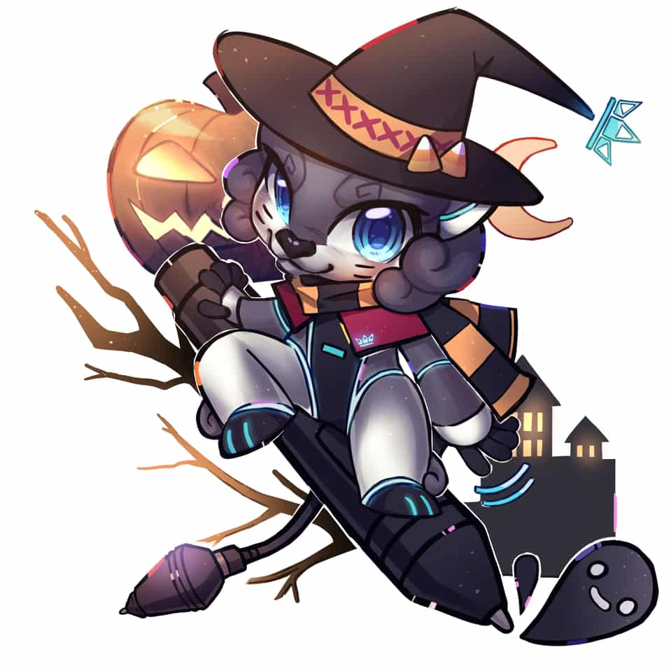 Happy Halloween with Leon Illust of Greenybeansy HuionDesign witch Halloween