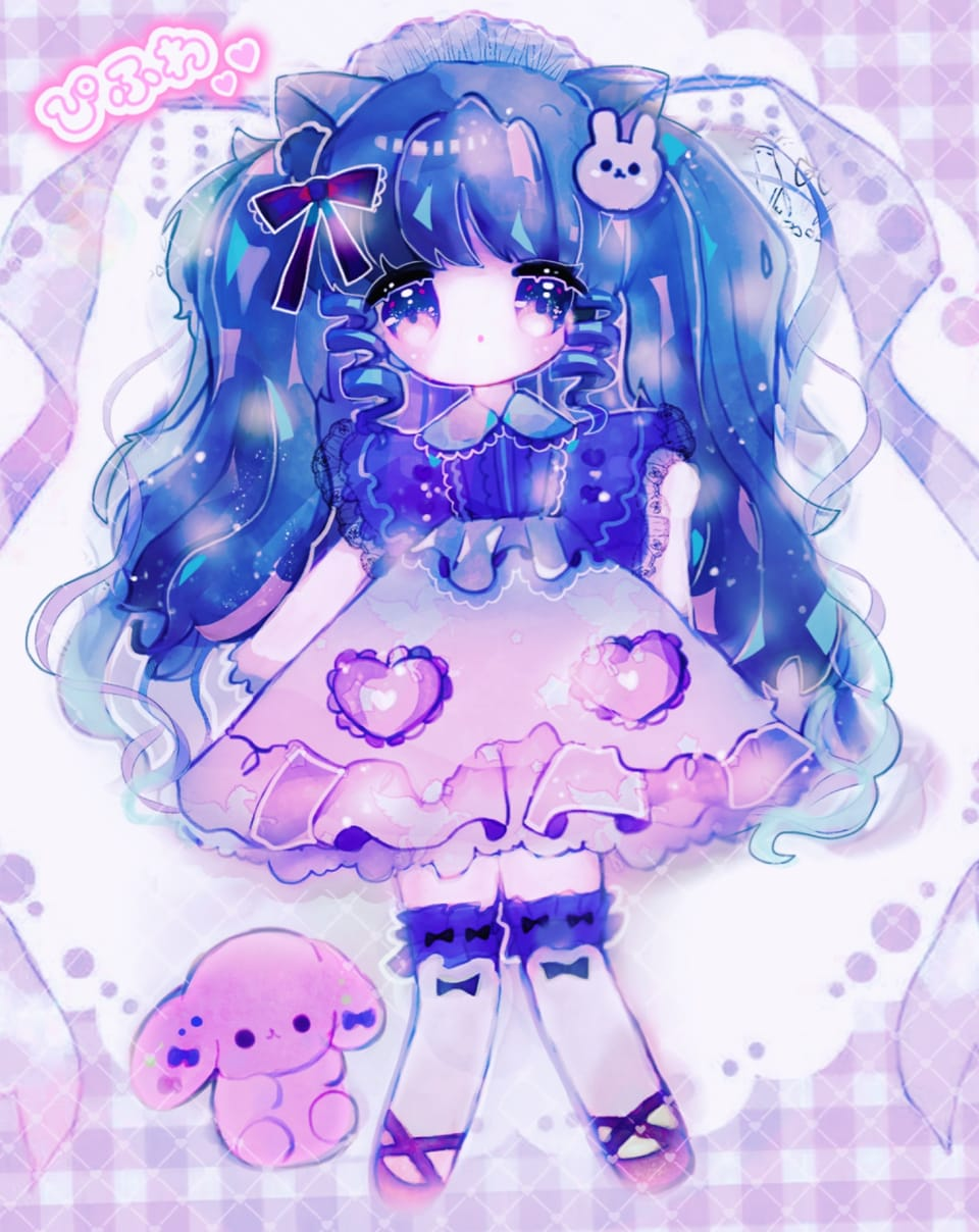 水色のリボンに夢見せて Illust of ぴふわ girl デフォルメ ゆめかわいい original twin_ponytails ちびキャラ oc