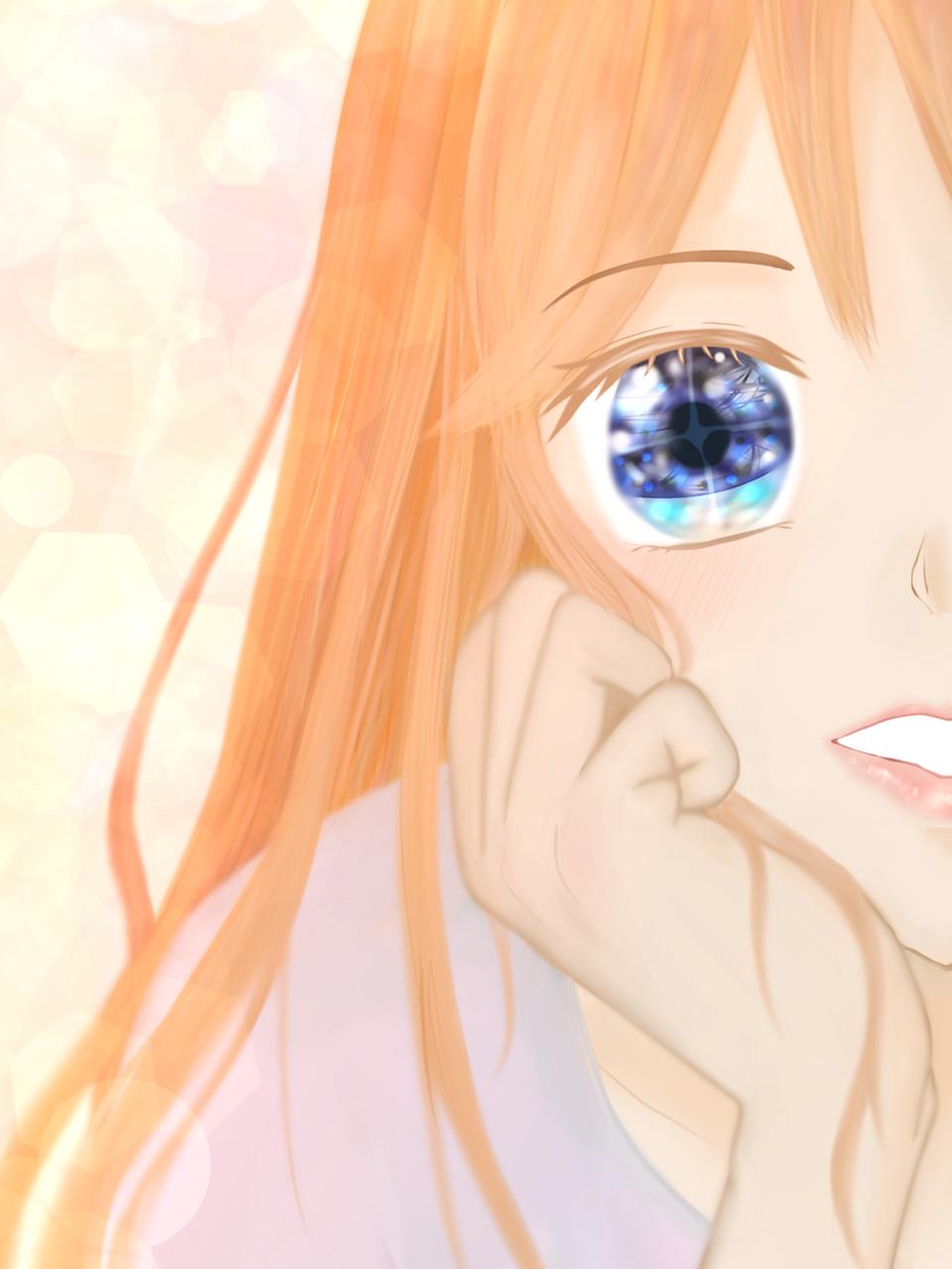 瞳の先は煌めく世界 Illust of chiwo January2021_Contest:OC pastel girl イラスト好きな人と繋がりたい ロングヘアー oc 輝く 頬杖